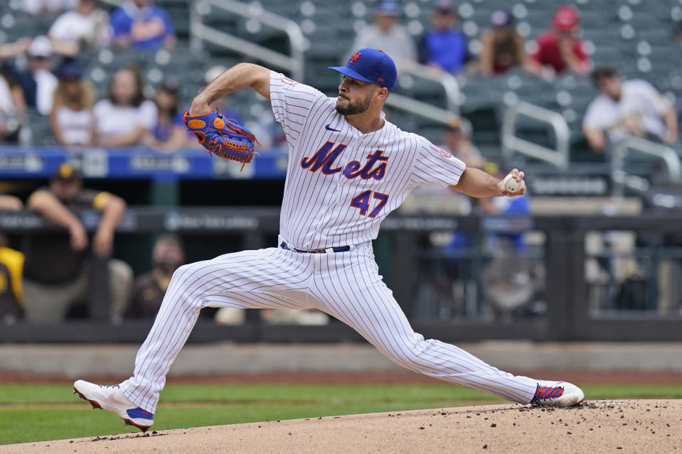 New York Mets starting pitcher Joey Lucchesi throws during the first inning of a baseball game against the San Diego Padres at Citi Field, Sunday, June 13, 2021, in New York. (AP Photo/Seth Wenig)