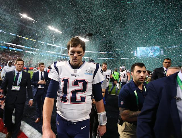 <p>New England Patriots quarterback Tom Brady (12) walks off the field after Super Bowl LII against the Philadelphia Eagles at U.S. Bank Stadium. Mandatory Credit: Mark J. Rebilas-USA TODAY Sports </p>