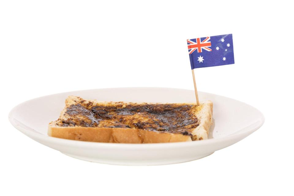 Vegemite on toast with an itty bitty Australian flag sticking out of it