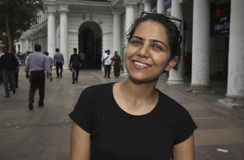 """In this Tuesday, April 16, 2019, photo, Monika Dalal, 20, a psychology student talks to associated Press in New Delhi, India. With nearly half the electorate under 35 and more than 15 million first time voters, India's young can swing the national vote in the world's largest democracy in any direction. """"Women's safety is the major issue for me. People are talking a lot about it and there are slogans like """"Save girl child, educate girl child,"""" being launched, but I don't think these concepts are applied to the roots with practicality. I have been to the villages and seen how girls are treated. They are not even educated and if they do go to school, they are forced to marry right after completing grade 12,"""" Dalal said. (AP Photo/Manish Swarup)"""