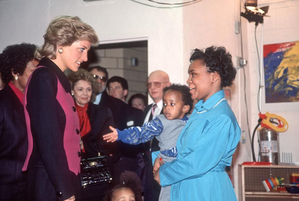 Princess Diana arrives at a Day Care Center in the Lower East Side, New York, New York, February 2, 1989. (Photo by Allan Tannenbaum/Getty Images)