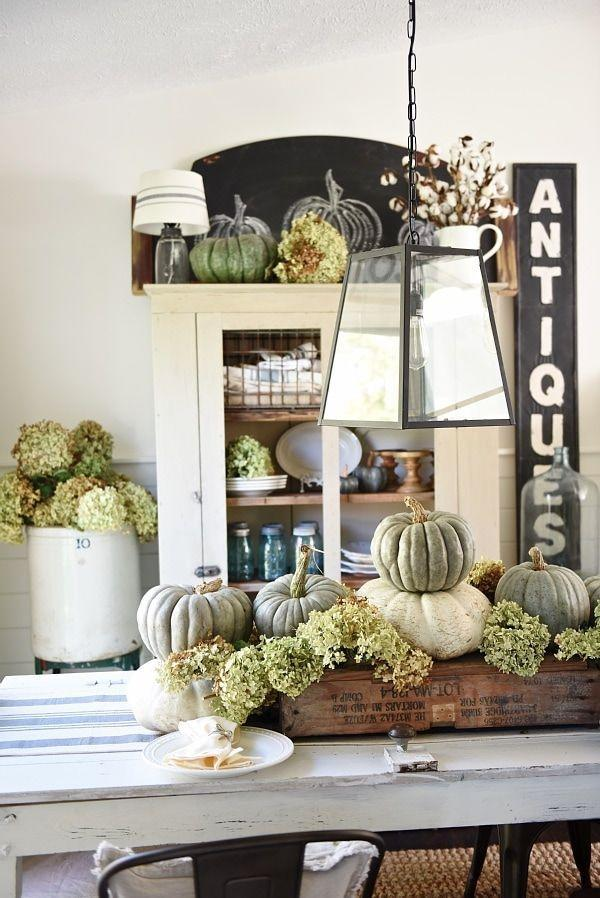 """<p>Dried hydrangeas and heirloom pumpkins look downright regal when paired together on a dining room table. You may not even want to change up this centerpiece come wintertime.</p><p><strong>Get the tutorial at <a href=""""https://www.lizmarieblog.com/2015/11/rustic-heirloom-pumpkin-thanksgiving-table/"""" rel=""""nofollow noopener"""" target=""""_blank"""" data-ylk=""""slk:Liz Marie Blog"""" class=""""link rapid-noclick-resp"""">Liz Marie Blog</a>.</strong></p><p><strong><strong><strong><strong><strong><strong><strong><strong><strong><strong><strong><strong><strong><strong><strong><a class=""""link rapid-noclick-resp"""" href=""""https://go.redirectingat.com?id=74968X1596630&url=https%3A%2F%2Fwww.walmart.com%2Fsearch%2F%3Fquery%3Dsponge%2Bbrushes&sref=https%3A%2F%2Fwww.thepioneerwoman.com%2Fhome-lifestyle%2Fdecorating-ideas%2Fg36664123%2Fwhite-pumpkin-decor-ideas%2F"""" rel=""""nofollow noopener"""" target=""""_blank"""" data-ylk=""""slk:SHOP FAUX PUMPKINS"""">SHOP FAUX PUMPKINS</a></strong></strong></strong></strong></strong></strong></strong></strong></strong></strong></strong></strong></strong></strong><br></strong></p>"""