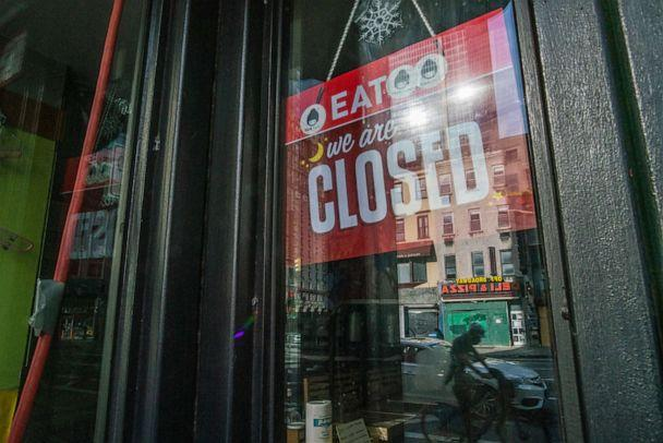 PHOTO: A local restaurant is seen closed at Hells Kitchen area as city prepares for reopening on June 18, 2020 in New York City. (Eduardo Munoz Alvarez/VIEWpress via Getty Images)