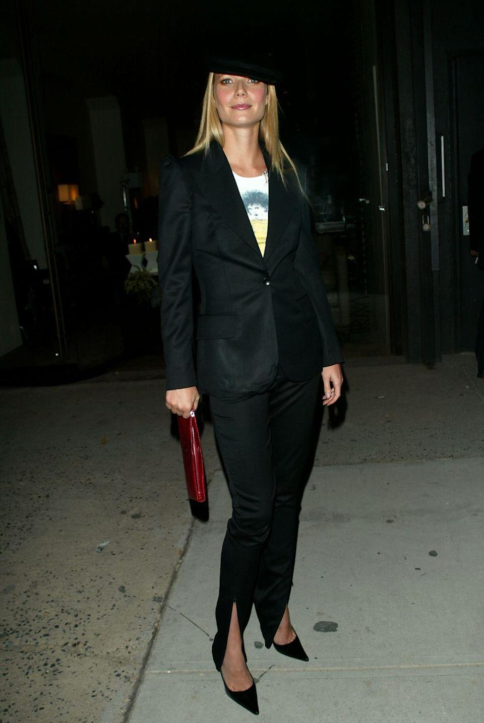 <p>Super-pointy toes weren't limited to boots. Gwyneth Paltrow's pumps were—like her pantsuit and fedora—another early-2000s fashion fixture.</p>