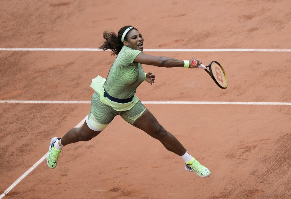 United States Serena Williams serves to Romania's Mihaela Buzarnescu during their second round match on day four of the French Open tennis tournament at Roland Garros in Paris, France, Wednesday, June 2, 2021. (AP Photo/Thibault Camus)