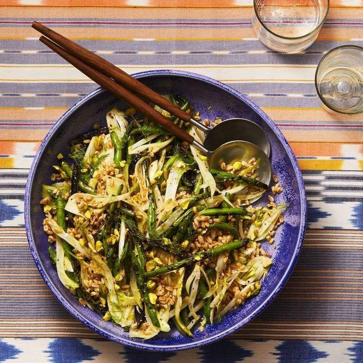 """<p>No more boring boiled beans! Pair them with high-fiber farro and flavor-packed fennel to bulk out this delicious vegan Thanksgiving recipe.</p><p><em><a href=""""https://www.goodhousekeeping.com/food-recipes/a28186104/grilled-green-beans-fennel-and-farro-recipe/"""" rel=""""nofollow noopener"""" target=""""_blank"""" data-ylk=""""slk:Get the recipe for Grilled Green Beans, Fennel, and Farro »"""" class=""""link rapid-noclick-resp"""">Get the recipe for Grilled Green Beans, Fennel, and Farro »</a></em></p><p><strong>RELATED: </strong><a href=""""https://www.goodhousekeeping.com/food-recipes/cooking/a27557917/what-is-farro/"""" rel=""""nofollow noopener"""" target=""""_blank"""" data-ylk=""""slk:What Is Farro? Why You Should Add This Ancient Grain to Your Dinner Rotation"""" class=""""link rapid-noclick-resp"""">What Is Farro? Why You Should Add This Ancient Grain to Your Dinner Rotation</a></p>"""