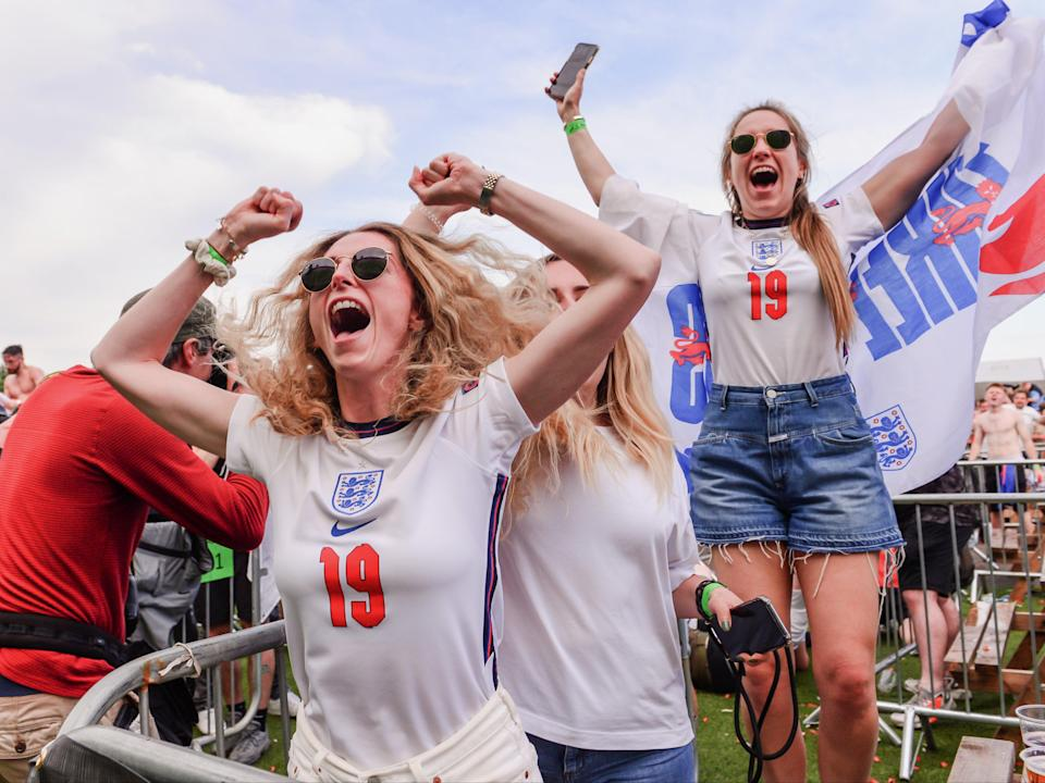 Supporters celebrate after England score against Germany on 29 June (Getty Images)