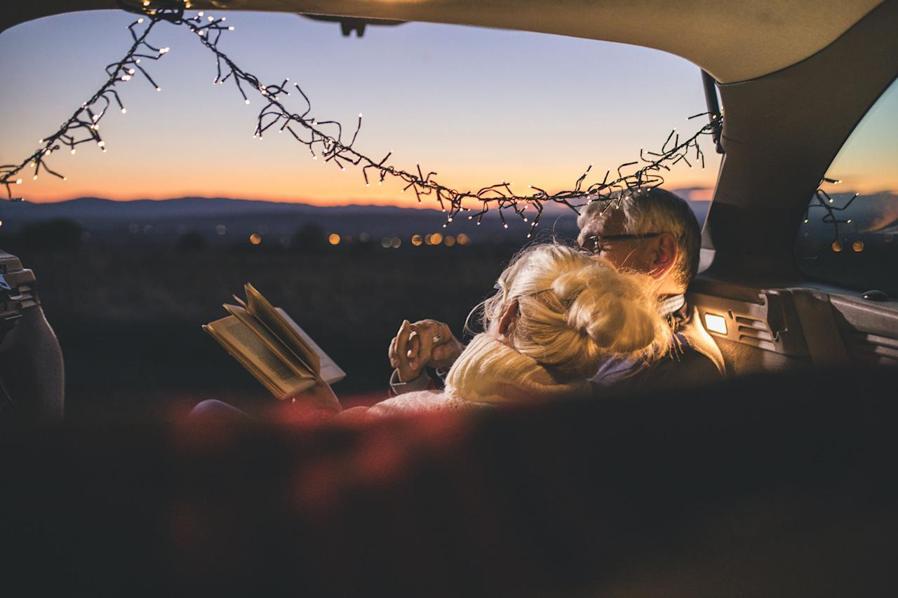 <p>Calling all bookworms, this date night idea is for you! Pick up a free read at your local library or choose something from your own bookshelf, and venture to a pretty park, beach, lake, or anywhere else with an awe-inspiring view to start your two-person book club. </p>