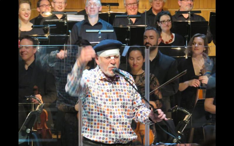 Procol Harum's singer Gary Brooker carries on with show after falling during the interval.