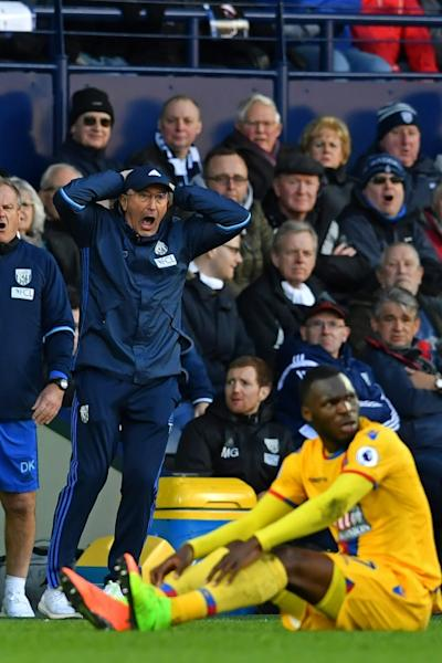 West Bromwich Albion's head coach Tony Pulis reacts on the touchline during the English Premier League football match against Crystal Palace in West Bromwich, central England, on March 4, 2017