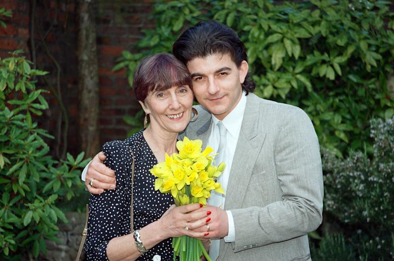 EastEnders stars June Brown (Dot Cotton) and John Altman (Nick Cotton). 23rd March 1990. (Photo by Mike Maloney/Mirrorpix/Getty Images)