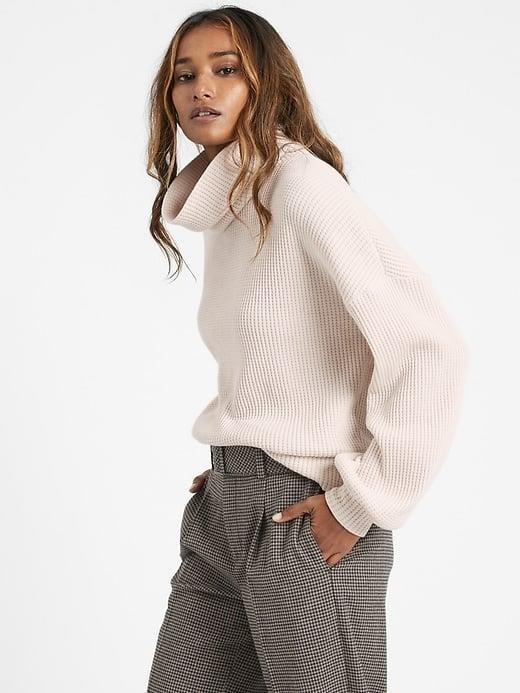 <p>This <span>Banana Republic Waffle-Knit Turtleneck Sweatshirt</span> ($47, originally $60) definitely stands out from other ordinary sweatshirts.</p>