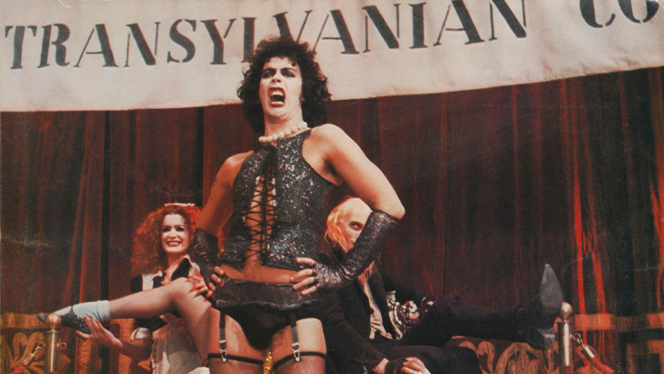 Tim Curry as Dr Frank-N-Furter in the 1975 musical comedy 'The Rocky Horror Picture Show', produced by 20th Century Fox. (Photo by Movie Poster Image Art/Getty Images)
