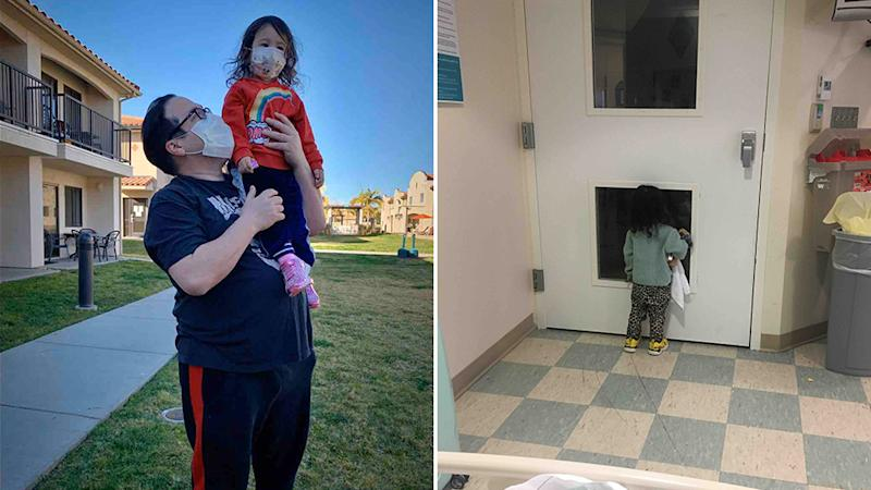 The father and daughter are now in the United States, but his wife remains in Wuhan.