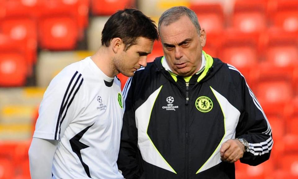 Frank Lampard with Avram Grant before the Champions League semi-final 1st leg at Anfield in April 2008