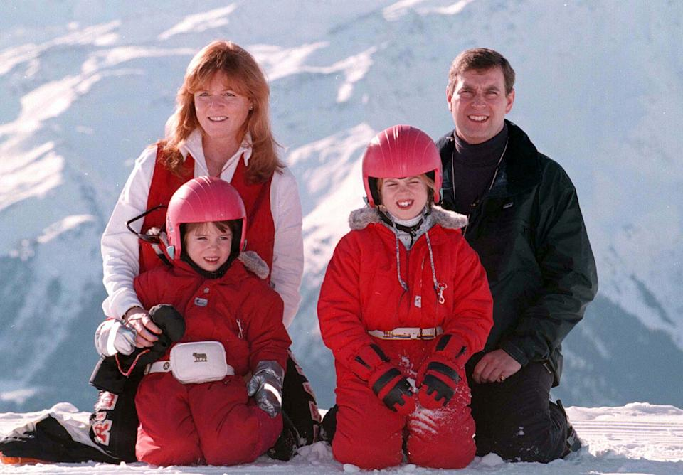 The Duke and Duchess of York, with their children Princess's Beatrice (right) and Eugenie take time out to pose for the media above the Swiss ski resort of Verbier this morning (Saturday). PHOTOGRAPH BY JOHN STILLWELL/PA.   (Photo by John Stillwell - PA Images/PA Images via Getty Images)
