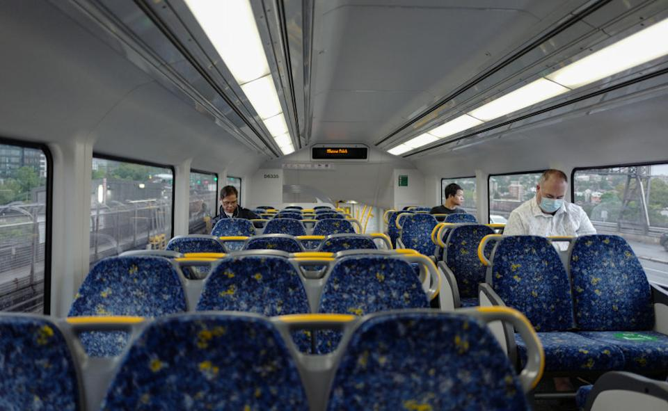 Passengers on a train from Milsons Point some wearing face masks.