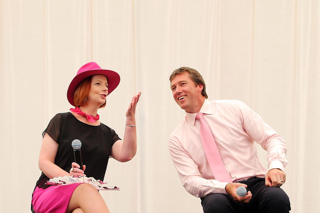 SYDNEY, AUSTRALIA - JANUARY 05: Australian Prime Minister, Julia Gillard and former Australian Test crickter, Glenn McGrath share a joke at a Jane McGrath High Tea during day three of the Third Test match between Australia and Sri Lanka at the Sydney Cricket Ground on January 5, 2013 in Sydney, Australia.  (Photo by Brendon Thorne/Getty Images)
