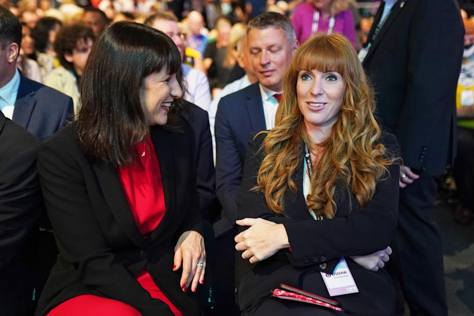 Shadow chancellor of the exchequer Rachel Reeves (left) and deputy leader Angela Rayner alongside delegates ahead of leader Sir Keir Starmer's speech at the Labour Party conference in Brighton. Picture date: Wednesday September 29, 2021.