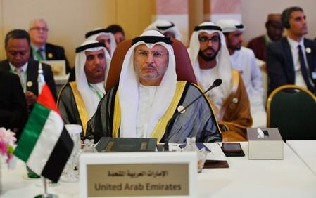 UAE Minister of State for Foreign Affairs Anwar Gargash is seen during preparatory meeting for the GCC, Arab and Islamic summits in Jeddah