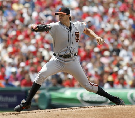 San Francisco Giants starting pitcher Barry Zito throws against the Philadelphia Phillies in the first inning of a baseball game on Sunday, July 22, 2012, in Philadelphia. (AP Photo/H. Rumph Jr)