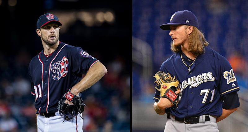 Max Scherzer and Josh Hader are the two most important pitchers to watch in the NL wild-card game. (Getty Images(