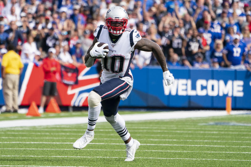 ORCHARD PARK, NY - SEPTEMBER 29: New England Patriots Wide Receiver Josh Gordon (10) runs with the ball after a catch during the second half of the game between the New England Patriots and the Buffalo Bills on September 29 ,2019, at New Era Field in Orchard Park, NY. (Photo by Gregory Fisher/Icon Sportswire via Getty Images)
