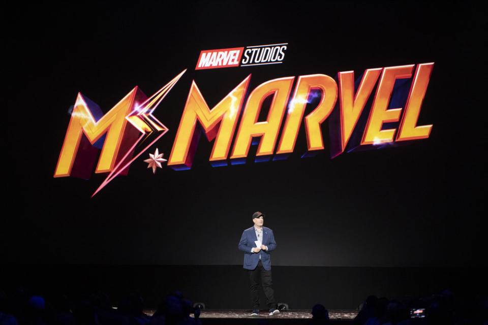 Kevin Feige, president, Marvel Studios, at the Disney+ presentation at the D23 Expo in Anaheim, California. (The Walt Disney Company/Image Group LA)