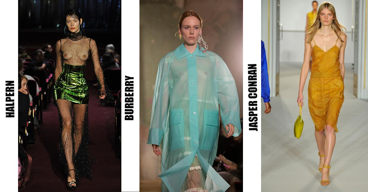 <p>Halpern well and truly embraced the sheer trend this season at London Fashion Week. While Burberry sent models down the runway in pastel-hued cagoules complete with one hefty chandelier-esque earring. </p>