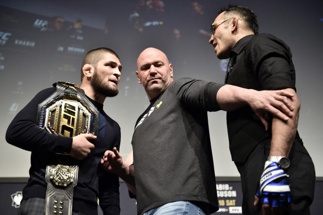 LAS VEGAS, NEVADA - MARCH 06: (L-R) Opponents Khabib Nurmagomedov and Tony Ferguson face off during the UFC 249 press conference at T-Mobile Arena on March 06, 2020 in Las Vegas, Nevada. (Photo by Chris Unger/Zuffa LLC)