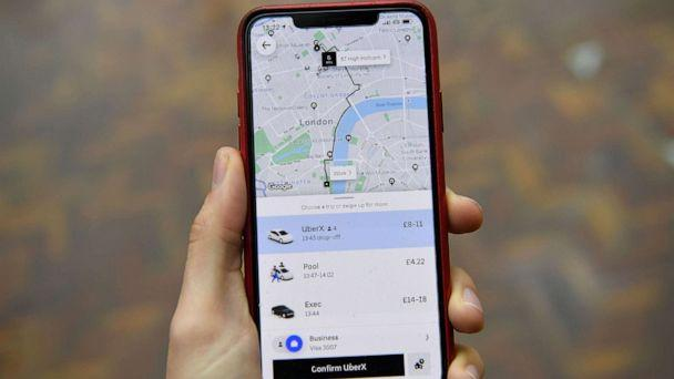 PHOTO: An illustration of the Uber ride-hailing app page showing a trip to be taken in London, Nov. 25, 2019. (Daniel Leal-Olivas/AFP/Getty Images)