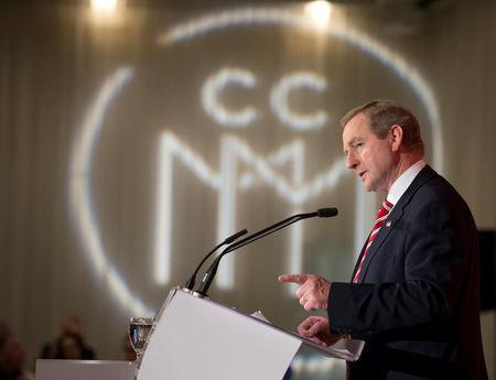 Ireland's Taoiseach (Prime Minister) Enda Kenny speaks at a luncheon hosted by the Chamber of Commerce of Metropolitan Montreal during his visit to Montreal, Quebec, Canada May 4, 2017.  REUTERS/Christinne Muschi