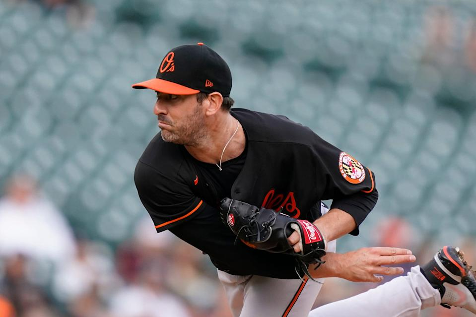 Baltimore Orioles pitcher Matt Harvey during the first half of a baseball game against the Detroit Tigers, Friday, July 30, 2021, in Detroit.