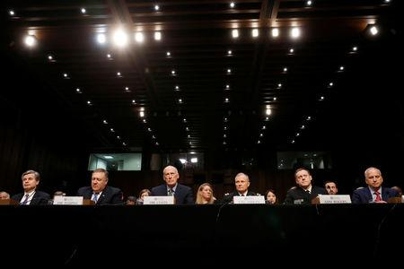 """U.S. security chiefs testify before Senate Intelligence Committee hearing on """"worldwide threats"""" on Capitol Hill in Washington"""
