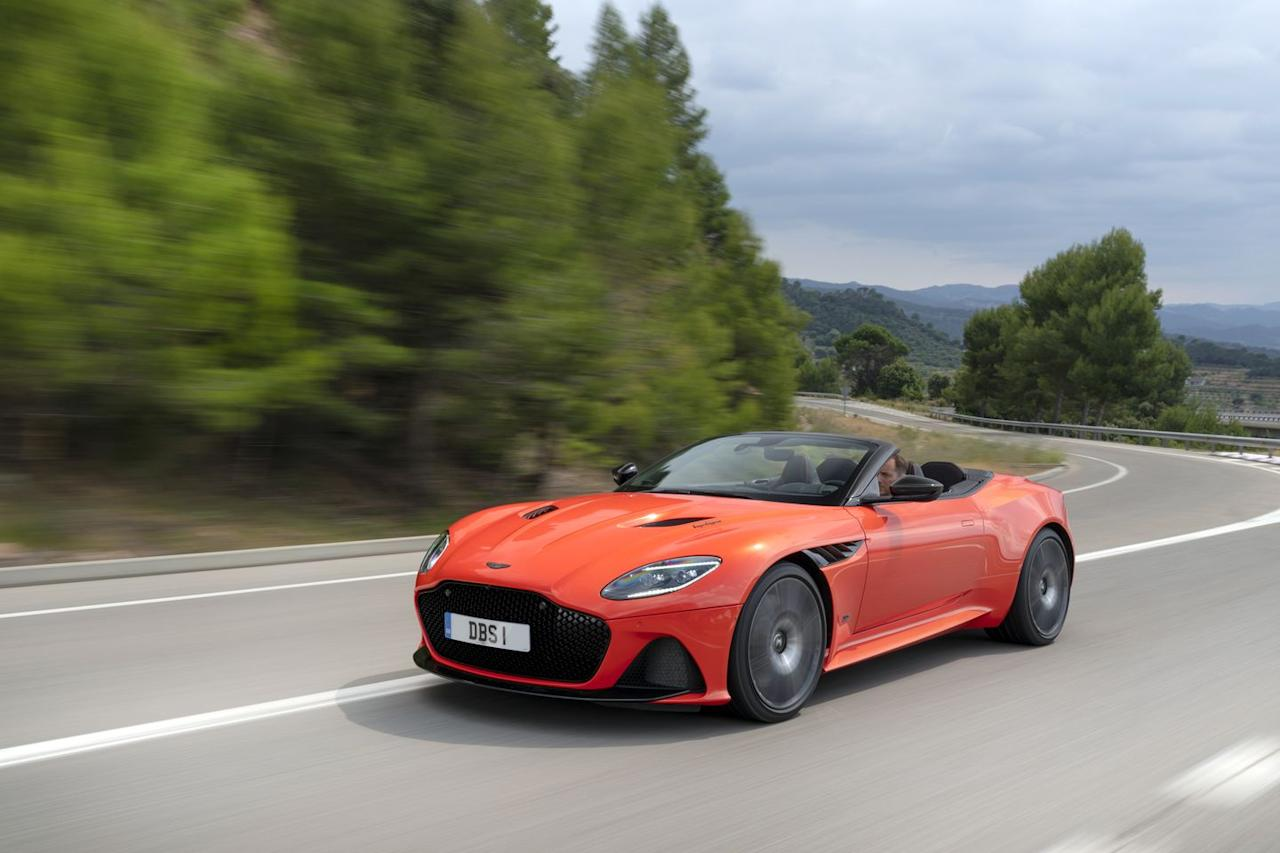 <p>As with the DBS coupe, the DBS Volante packs a twin-turbo 5.2-liter V-12 good for 715 horsepower.</p>