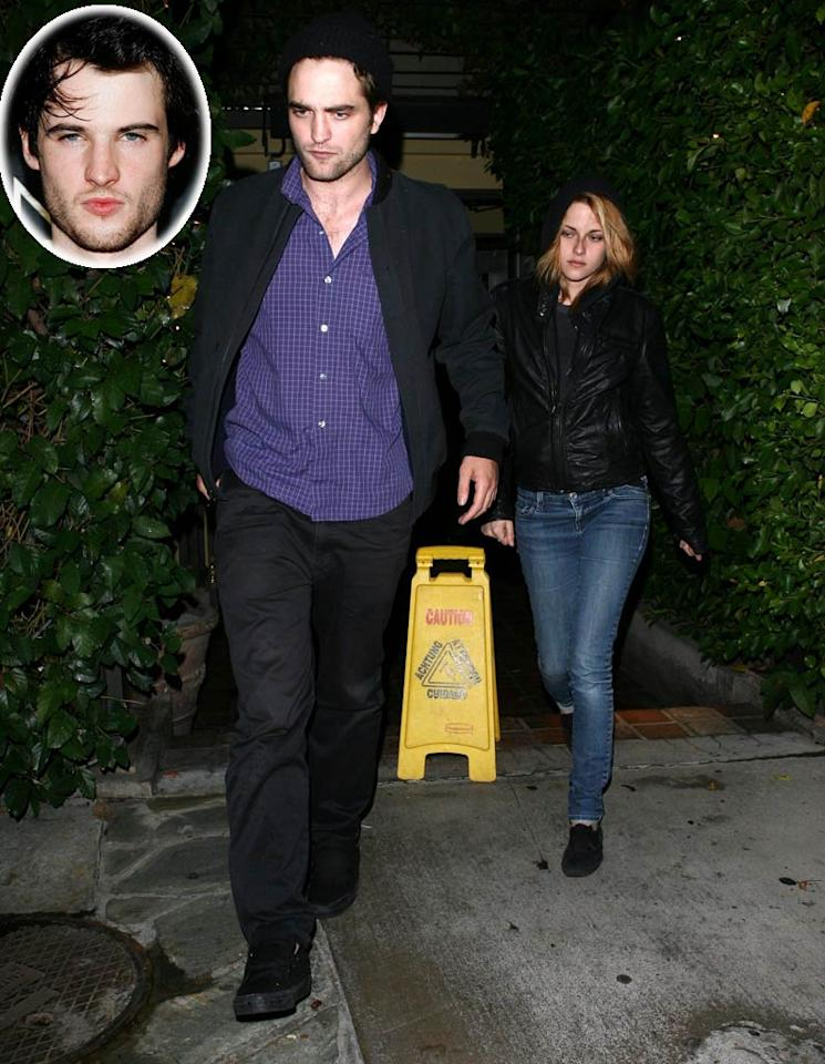 """HollywoodLife reports that Robert Pattinson's best friend, actor Tom Sturridge, is vying for Kristen Stewart's romantic attention. According to the website, while the three were recently at dinner in L.A., Pattinson barely spoke to his pal, and instead was very affectionate with Stewart because he wanted to """"show everyone,"""" including Sturridge, """"that Kristen is his."""" For the latest news on this reported """"love triangle,"""" log on to <a href=""""http://www.gossipcop.com/robert-pattinson-kristen-stewart-tom-sturridge-soho-house/"""" target=""""new"""">Gossip Cop</a>. Julio/<a href=""""http://www.x17online.com"""" target=""""new"""">X17 Online</a> - October 4, 2010"""