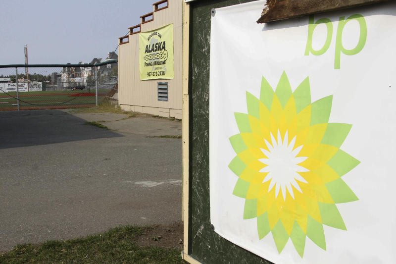 A BP sponsorship sign is shown at Mulcahy Stadium in Anchorage, Alaska, Wednesday, Aug. 28, 2019. BP announced plans Aug. 27, 2019, to sell its Alaska assets to Hilcorp, and its plan to pull out of Alaska could leave a big hole for nonprofits and other programs that benefited from the oil giant's donations and its employee volunteers. (AP Photo/Mark Thiessen)