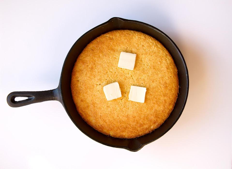 """<p>There are probably some <a href=""""https://www.thedailymeal.com/cook/cast-iron-pan-surprises?referrer=yahoo&category=beauty_food&include_utm=1&utm_medium=referral&utm_source=yahoo&utm_campaign=feed"""" rel=""""nofollow noopener"""" target=""""_blank"""" data-ylk=""""slk:dishes you didn't realize you can make in a cast-iron pan"""" class=""""link rapid-noclick-resp"""">dishes you didn't realize you can make in a cast-iron pan</a>. This cornbread recipe is one of them. What's a Southern dinner without cornbread?</p> <p><a href=""""https://www.thedailymeal.com/recipes/cast-iron-jalapeno-cornbread?referrer=yahoo&category=beauty_food&include_utm=1&utm_medium=referral&utm_source=yahoo&utm_campaign=feed"""" rel=""""nofollow noopener"""" target=""""_blank"""" data-ylk=""""slk:For the Cast-Iron Pan Jalapeño Cornbread recipe, click here."""" class=""""link rapid-noclick-resp"""">For the Cast-Iron Pan Jalapeño Cornbread recipe, click here.</a></p>"""