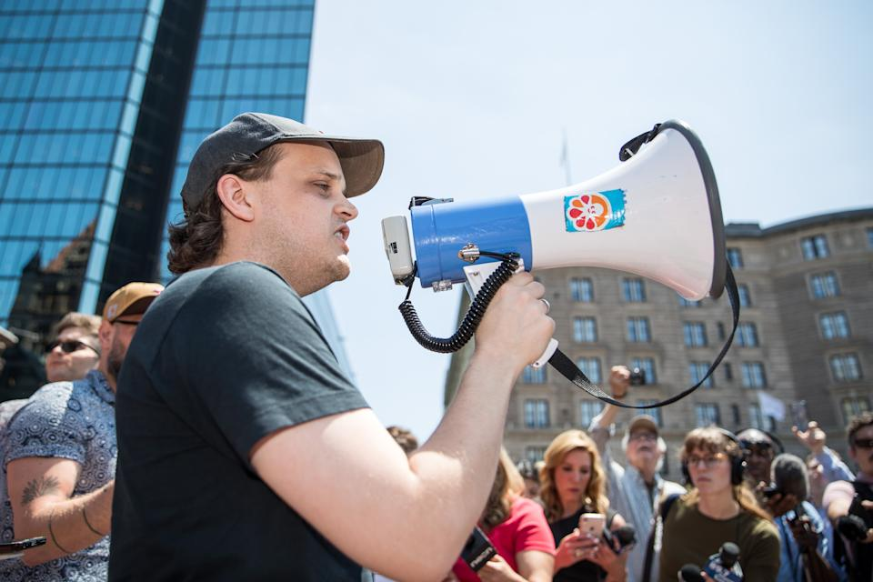 A Wayfair employee speaks to the crowd during the Wayfair walkout on June 26, 2019 in Boston, Massachusetts. Wayfair sold more than $200,000 in bedroom furniture to a Texas detention facility for migrant children. (Photo by Scott Eisen/Getty Images)