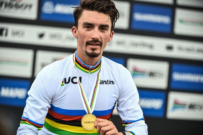 Julian Alaphilippe (France) wins the elite men's road race at the Imola World Championships