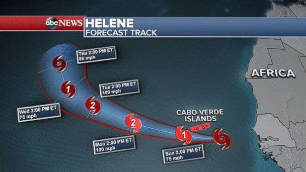 PHOTO: Helene is not posing a threat to land in the near future. (ABC News)