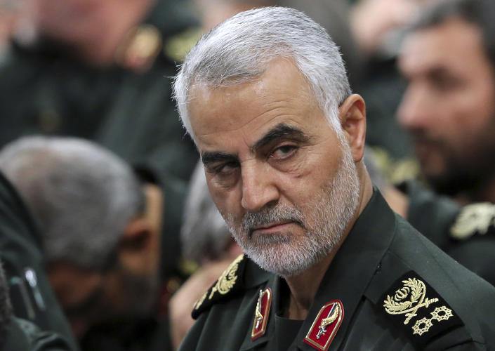 In this Sept. 18, 2016 photo released by an official website of the office of the Iranian supreme leader, Revolutionary Guard Gen. Qassem Soleimani, center, attends a meeting with Supreme Leader Ayatollah Ali Khamenei and Revolutionary Guard commanders in Tehran, Iran. (Office of the Iranian Supreme Leader via AP)