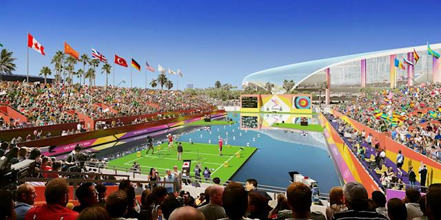 <p>Paralympic Archery is shown in this rendering of L.A. Stadium at Hollywood Park. (Photo: Courtesy LA 2024) </p>