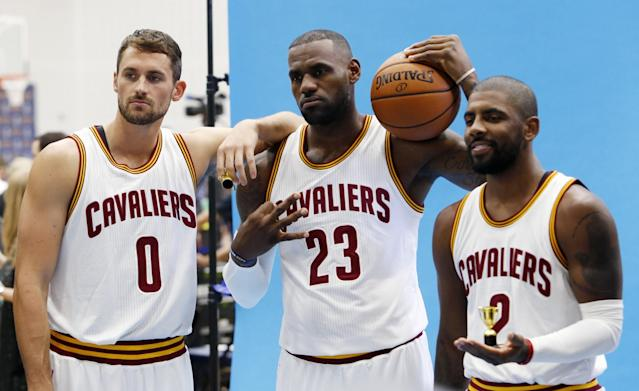 "<a class=""link rapid-noclick-resp"" href=""/nba/players/4391/"" data-ylk=""slk:Kevin Love"">Kevin Love</a> (left), LeBron James (center) and <a class=""link rapid-noclick-resp"" href=""/nba/players/4840/"" data-ylk=""slk:Kyrie Irving"">Kyrie Irving</a> will get the night off on Monday. (AP)"