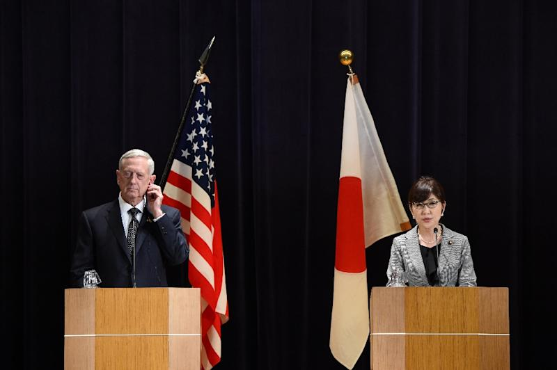 US Defence Secretary Jim Mattis (L) listens to Japanese Defence Minister Tomomi Inada during a joint press conference in Tokyo on February 4, 2017
