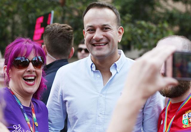 <p>Irish Prime Minister Leo Varadkar, smiles for a photo at the Belfast Pride march, Northern Ireland on Aug. 5, 2017. (Photo: Press Eye Ltd/REX/Shutterstock) </p>