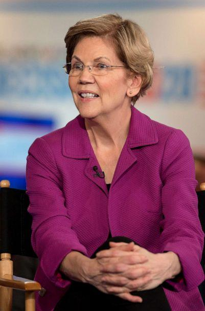 PHOTO: Senator Elizabeth Warren is interviewed by MSNBC's Chris Matthews in the spin room after the NBC News Democratic Debate in Las Vegas, Feb. 19, 2020. (Brian Cahn/ZUMA Wire via Newscom)