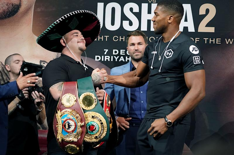 Heavyweight Boxing Champion Andy Ruiz Jr. (L) shakes hands with contender Anthony Joshua (R) at a press conference for Ruiz vs. Joshua 2 at Capitale in New Yorkon on September 5, 2019. - Heavyweight champion Andy Ruiz Jr promised on Wednesday that history would repeat itself when he takes on Anthony Joshua in December's controversial rematch in Saudi Arabia. (Photo by Bryan R. Smith / AFP) (Photo credit should read BRYAN R. SMITH/AFP/Getty Images)