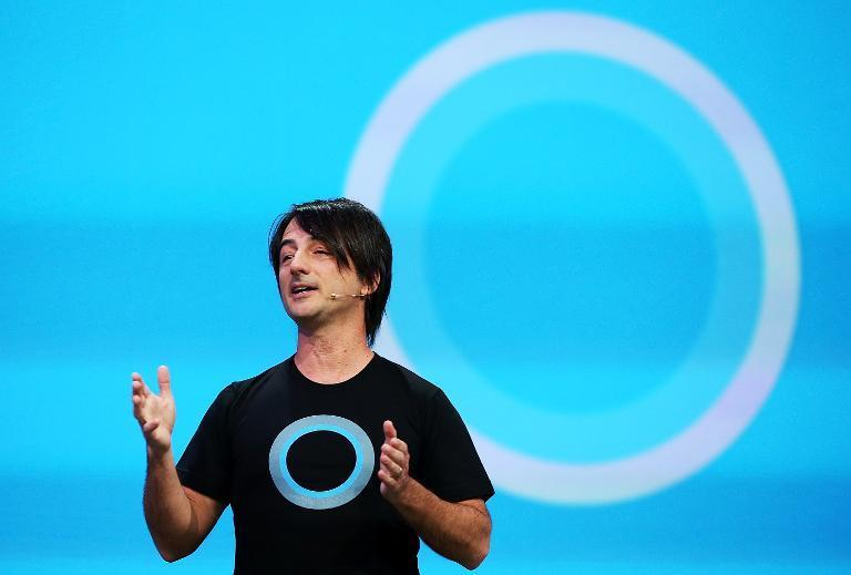 Joe Belfiore, corporate vice president and manager for Windows Phone, announces Cortana, a new digital personal assistant function for Windows phones, on April 2, 2014 in San Francisco, California
