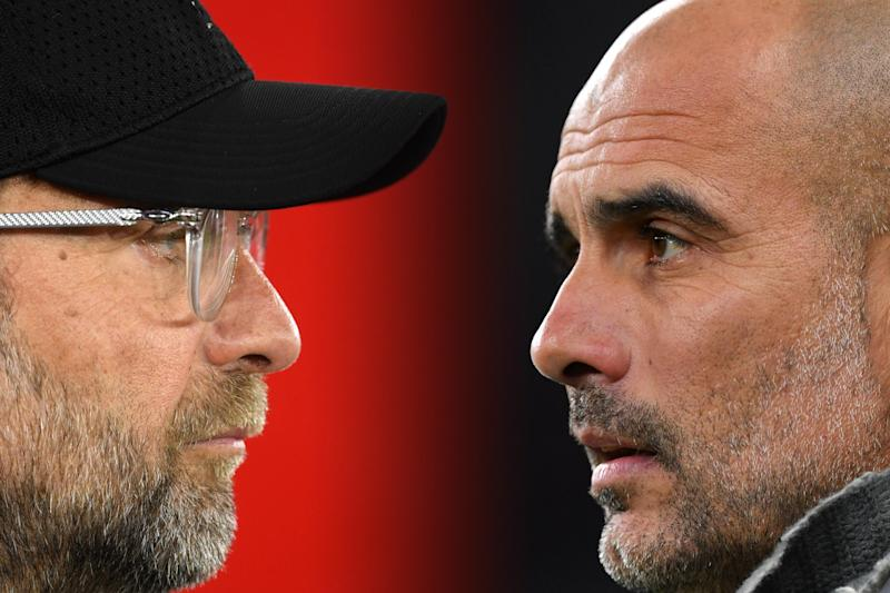 FILE PHOTO (EDITORS NOTE: COMPOSITE OF IMAGES - Image numbers 1140640499,1141519827 - GRADIENT ADDED) In this composite image a comparison has been made between Jurgen Klopp, Manager of Liverpool (L) and Josep Guardiola, Manager of Manchester City. Liverpool FC and Manchester City meet in a Premier League match on November 10, 2019 at Anfield in Liverpool. ***LEFT IMAGE*** SOUTHAMPTON, ENGLAND - APRIL 05: Jurgen Klopp, Manager of Liverpool looks on prior to the Premier League match between Southampton FC and Liverpool FC at St Mary's Stadium on April 05, 2019 in Southampton, United Kingdom. (Photo by Mike Hewitt/Getty Images) ***RIGHT IMAGE*** LONDON, ENGLAND - APRIL 09: Josep Guardiola, Manager of Manchester City looks on prior to the UEFA Champions League Quarter Final first leg match between Tottenham Hotspur and Manchester City at Tottenham Hotspur Stadium on April 09, 2019 in London, England. (Photo by Dan Mullan/Getty Images)